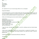 Formal Letter To Principal For School Leaving Certificate With School Leaving Certificate Template