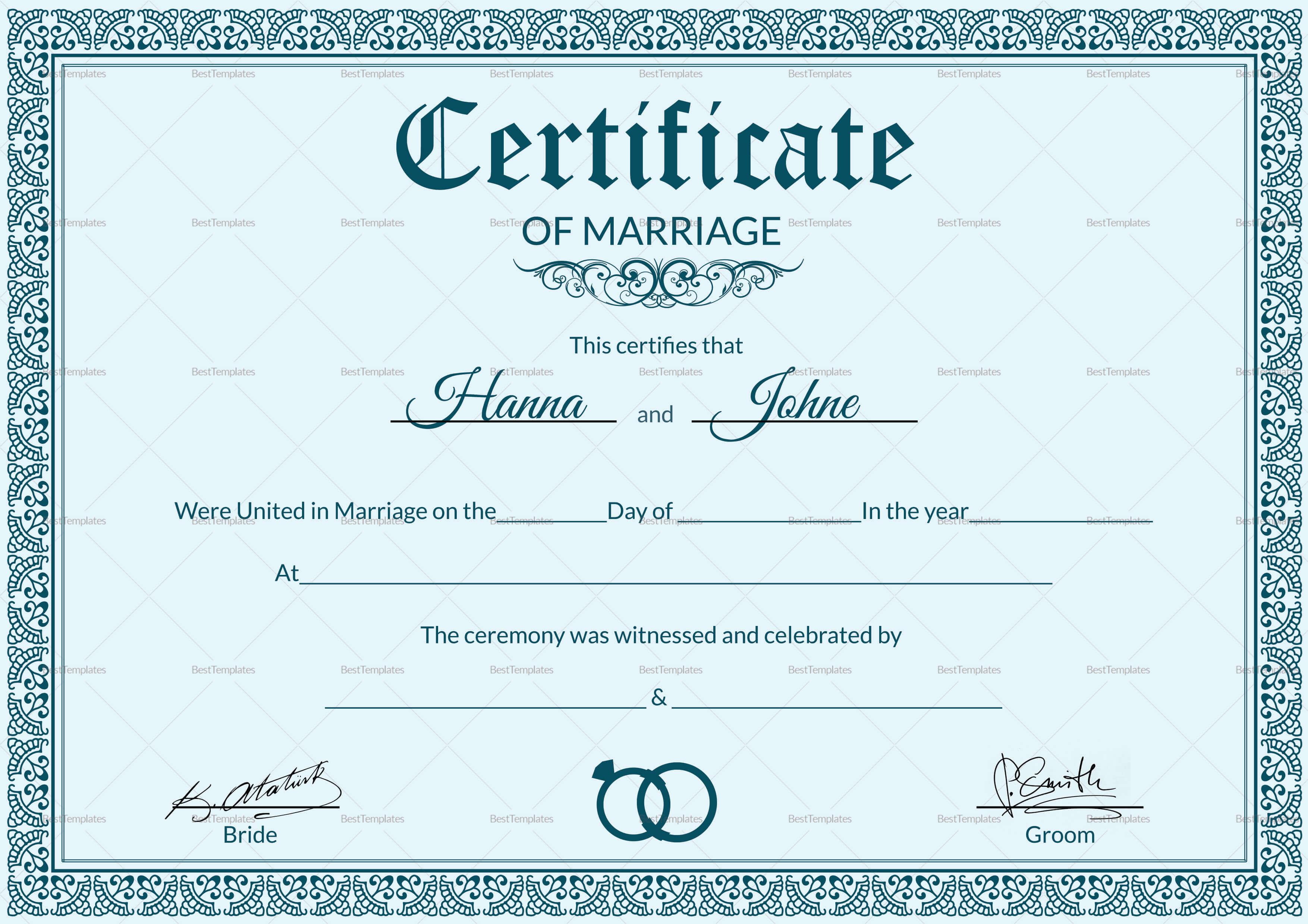 Formal Marriage Certificate Template Regarding Certificate Of Marriage Template