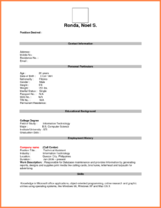 Format For Job Application Pdf Basic Appication Letter Blank for Blank Resume Templates For Microsoft Word