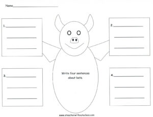 Four-Square Writing Template For A Bat   Bat Ideas   Second intended for Blank Four Square Writing Template