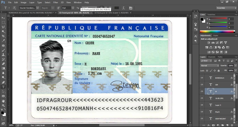 France Id Card Editable Psd Template (Photoshop Template Inside French Id Card Template