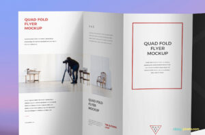 Free 4 Fold Brochure Mockup | Zippypixels for Brochure 4 Fold Template