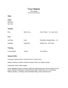 Free Acting Resume Template Examples Ms Word How To Format within Theatrical Resume Template Word