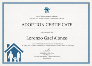 Free Adoption Certificate Template In Psd Ms Word Publisher Intended For Adoption Certificate Template
