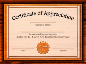 Free Appreciation Certificate Templates Supplier Contract pertaining to Participation Certificate Templates Free Download