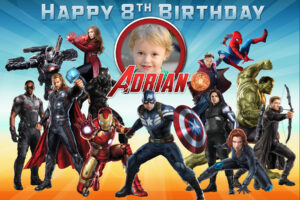 Free Avengers Birthday Tarpaulin | Dioskouri Designs with regard to Avengers Birthday Card Template