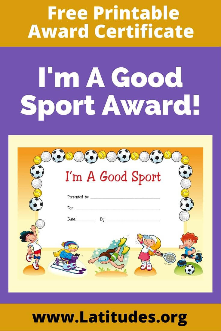 Free Award Certificate - I'm A Good Sport (Primary With Regard To Sports Day Certificate Templates Free