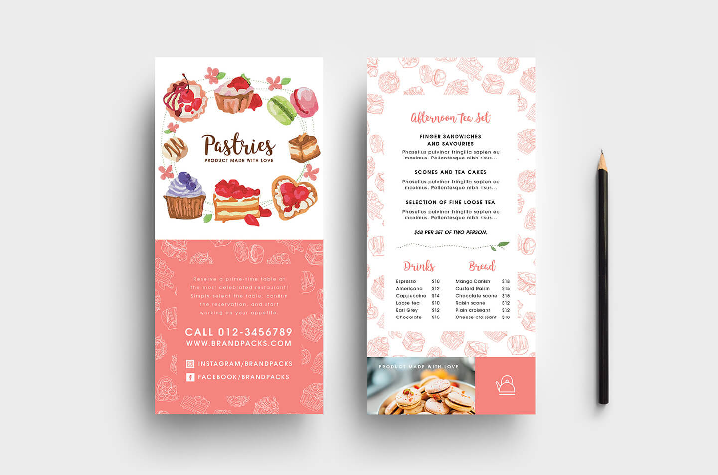 Free Bakery Dl Card Template - Psd, Ai & Vector - Brandpacks Within Dl Card Template