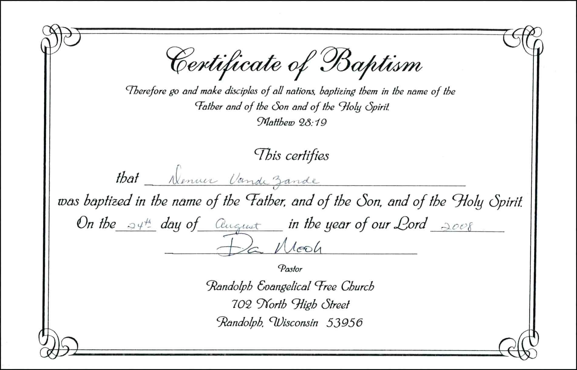 Free Baptism Certificate Template Download 200 Certificates Pertaining To Baptism Certificate Template Download