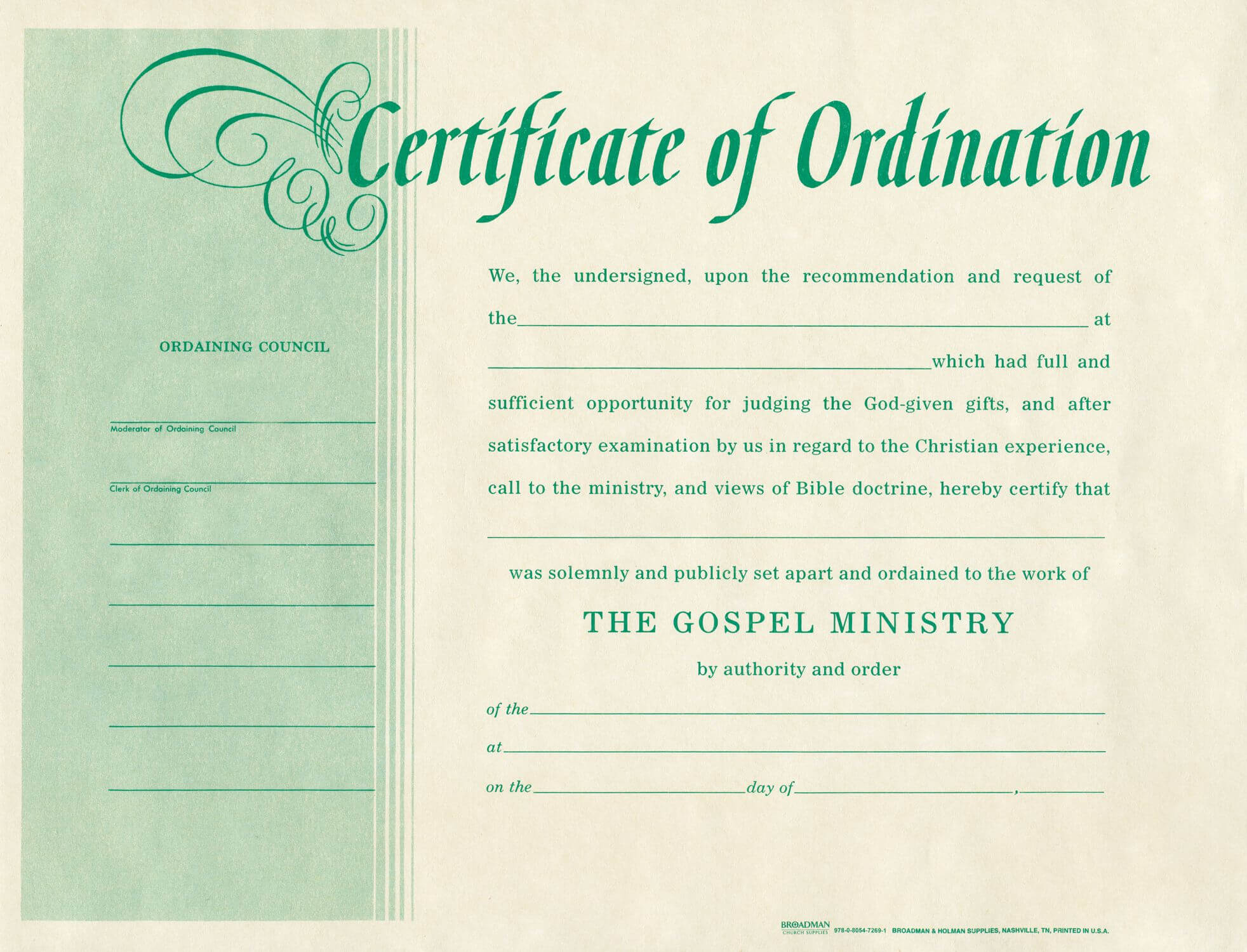 Free Blank Certificate Of Ordination   Ordination For Regarding Certificate Of Ordination Template
