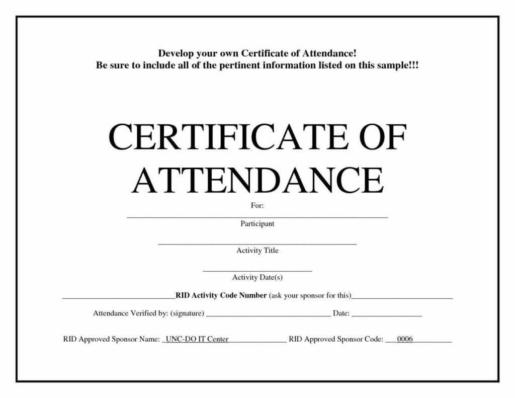 Free Blank Certificate Templates | Template | Certificate Throughout Attendance Certificate Template Word