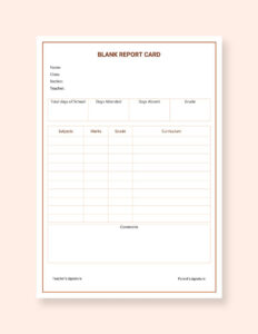 Free Blank Report Card | No | Report Card Template, School in Blank Report Card Template