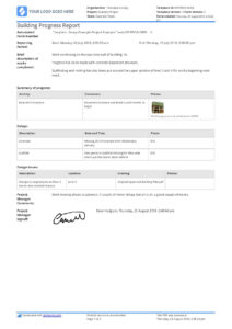 Free Building Construction Progress Report Sample (Customisable) For Construction Status Report Template