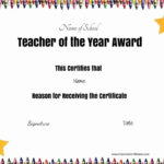 Free Certificate Of Appreciation For Teachers | Customize Online in Teacher Of The Month Certificate Template