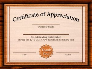 Free Certificate Of Appreciation Templates For Word inside Certificate Of Appreciation Template Free Printable