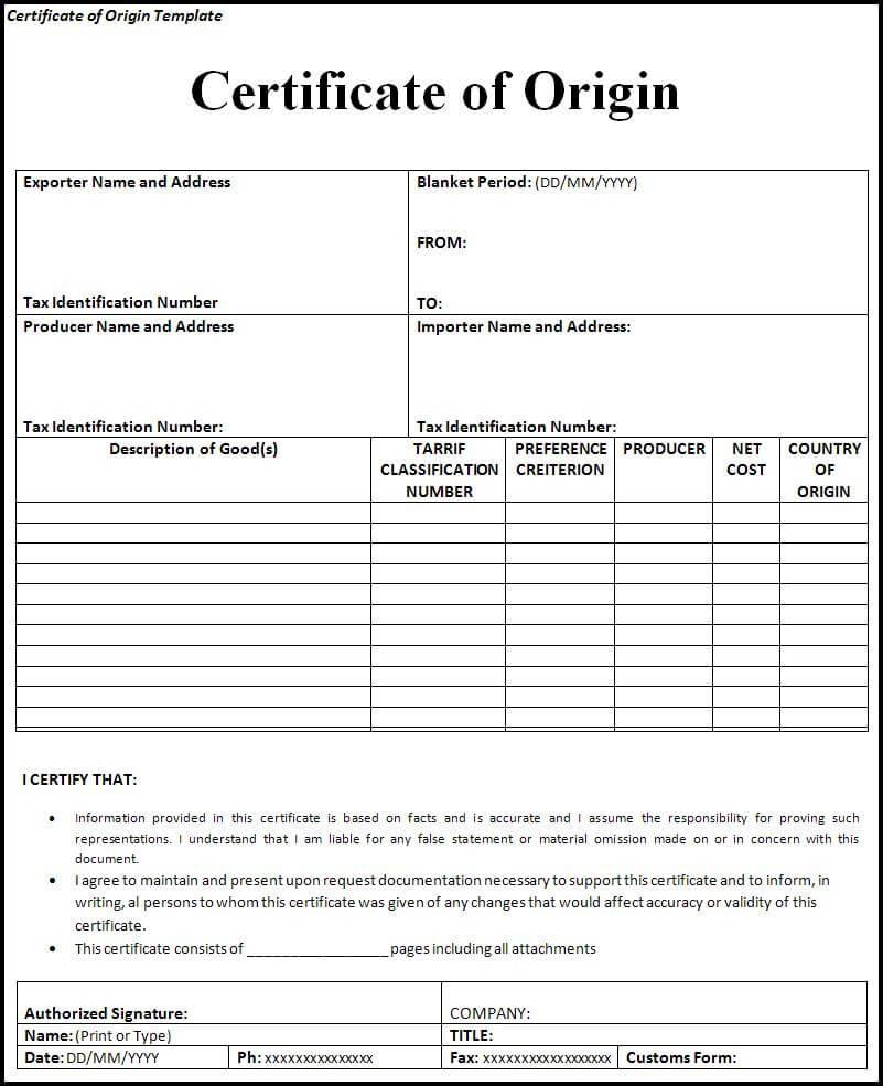 Free Certificate Of Origin Template | Free Word Templates Within Certificate Of Origin Template Word
