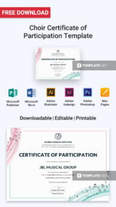 Free Choir Certificate Of Participation | Certificate within Choir Certificate Template