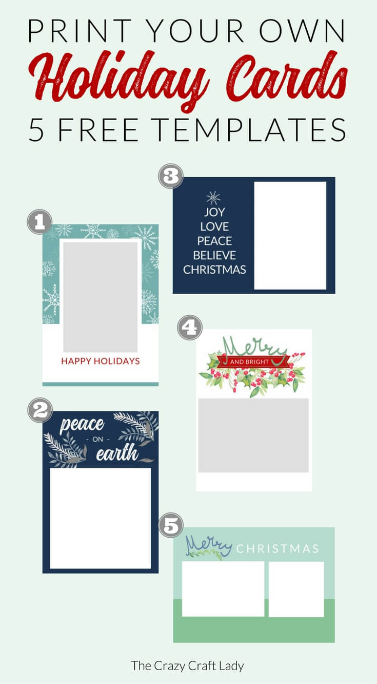 Free Christmas Card Templates - The Crazy Craft Lady Regarding Print Your Own Christmas Cards Templates