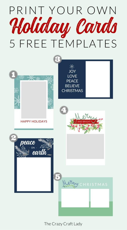 Free Christmas Card Templates – The Crazy Craft Lady Regarding Printable Holiday Card Templates