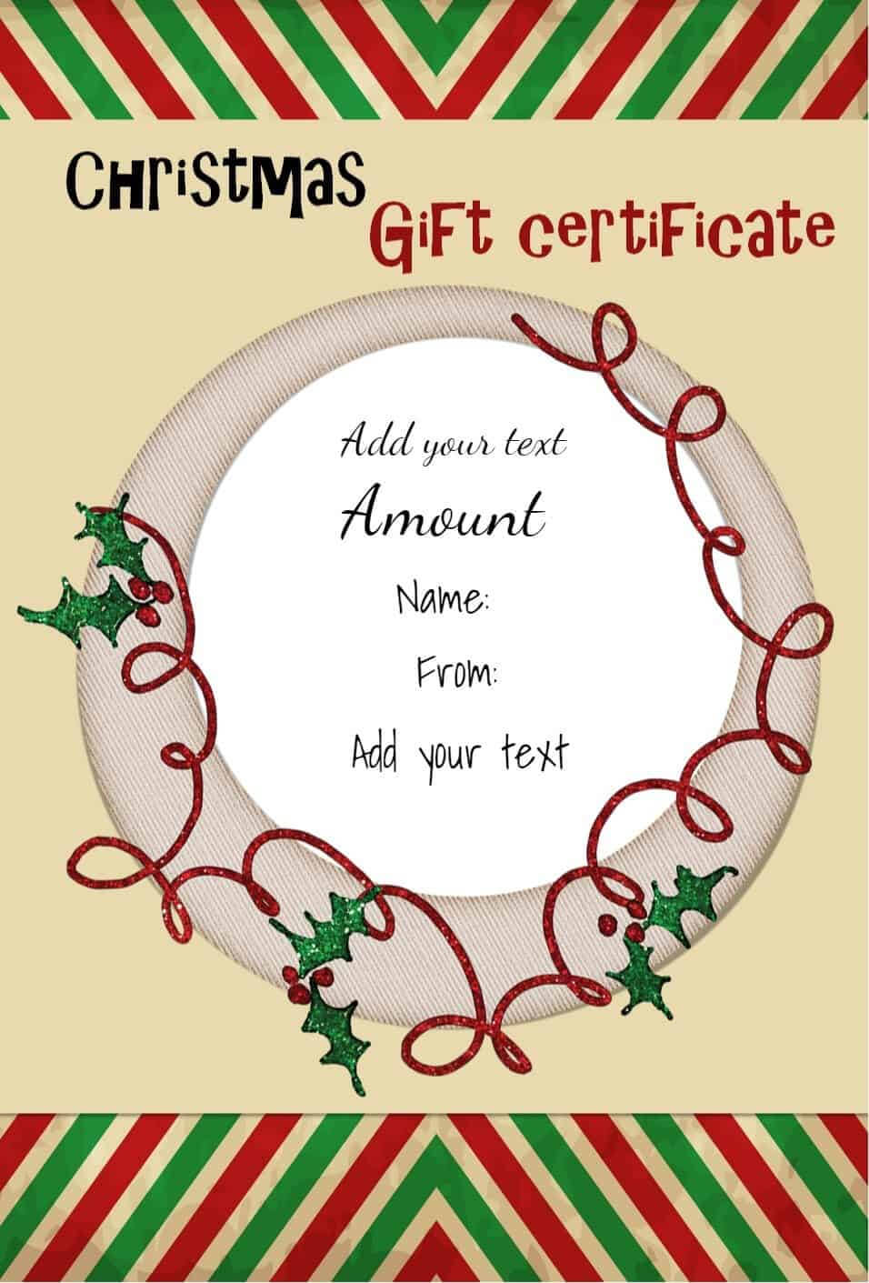 Free Christmas Gift Certificate Template | Customize Online With Christmas Gift Certificate Template Free Download