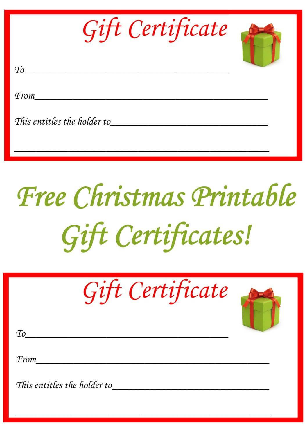 Free Christmas Printable Gift Certificates | Gifts | Free Inside Homemade Christmas Gift Certificates Templates