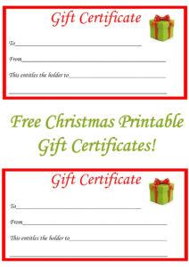 Free Christmas Printable Gift Certificates | Misc | Free for Free Christmas Gift Certificate Templates