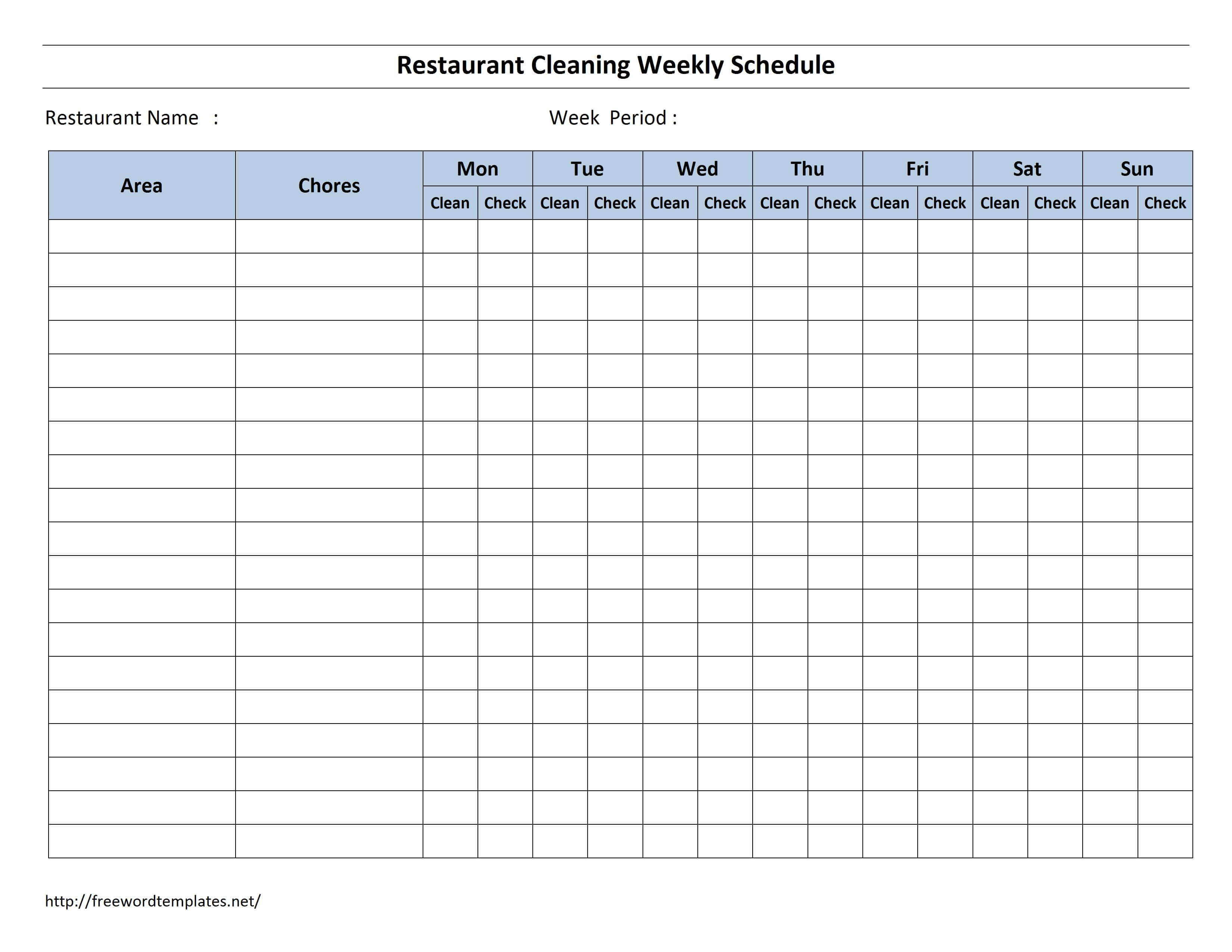 Free Cleaning Schedule Forms | Excel Format And Payroll For Blank Cleaning Schedule Template