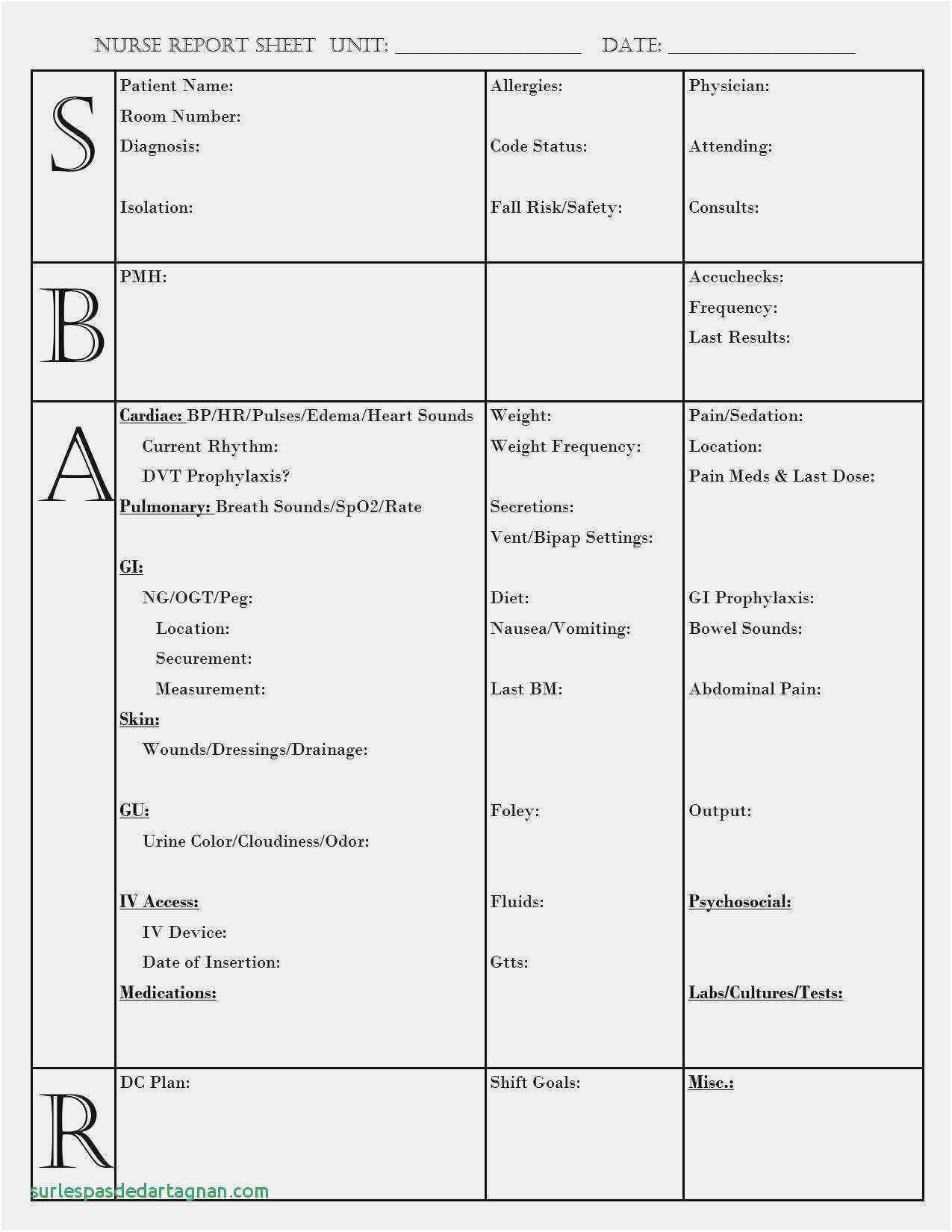 Free Collection Nursing Shift Change Report Sheet Elegant With Regard To Charge Nurse Report Sheet Template