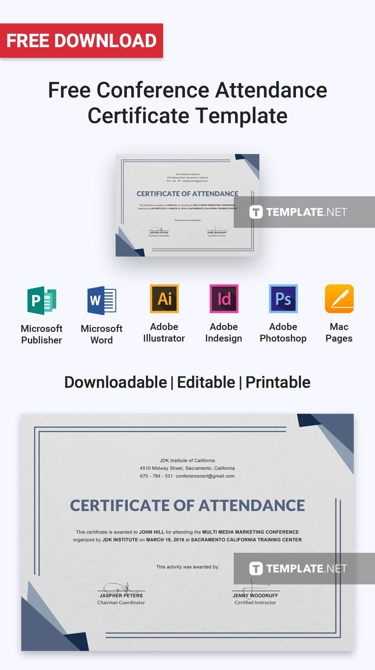 Free Conference Attendance Certificate | Certificate In Certificate Of Attendance Conference Template