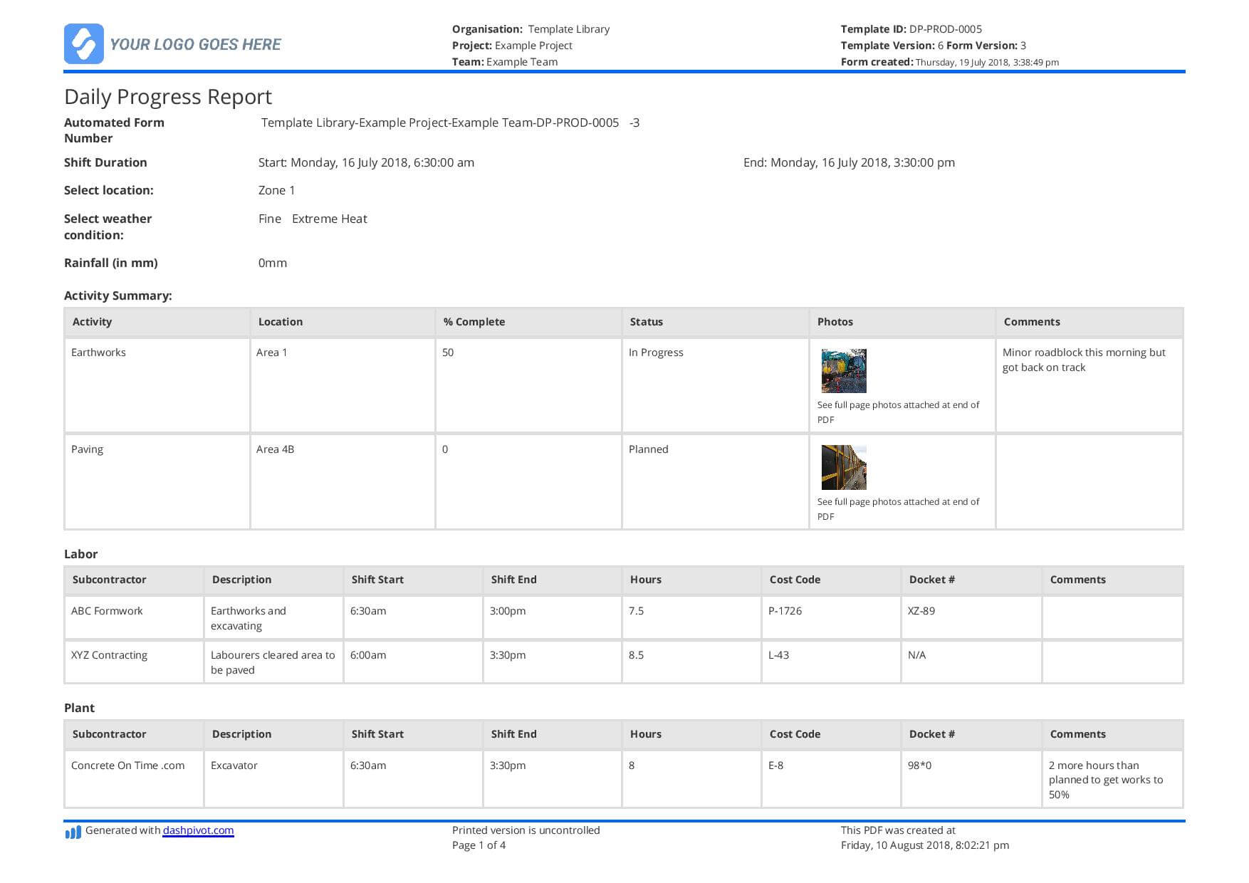 Free Construction Daily Report Template (Better Than Pdf In It Progress Report Template