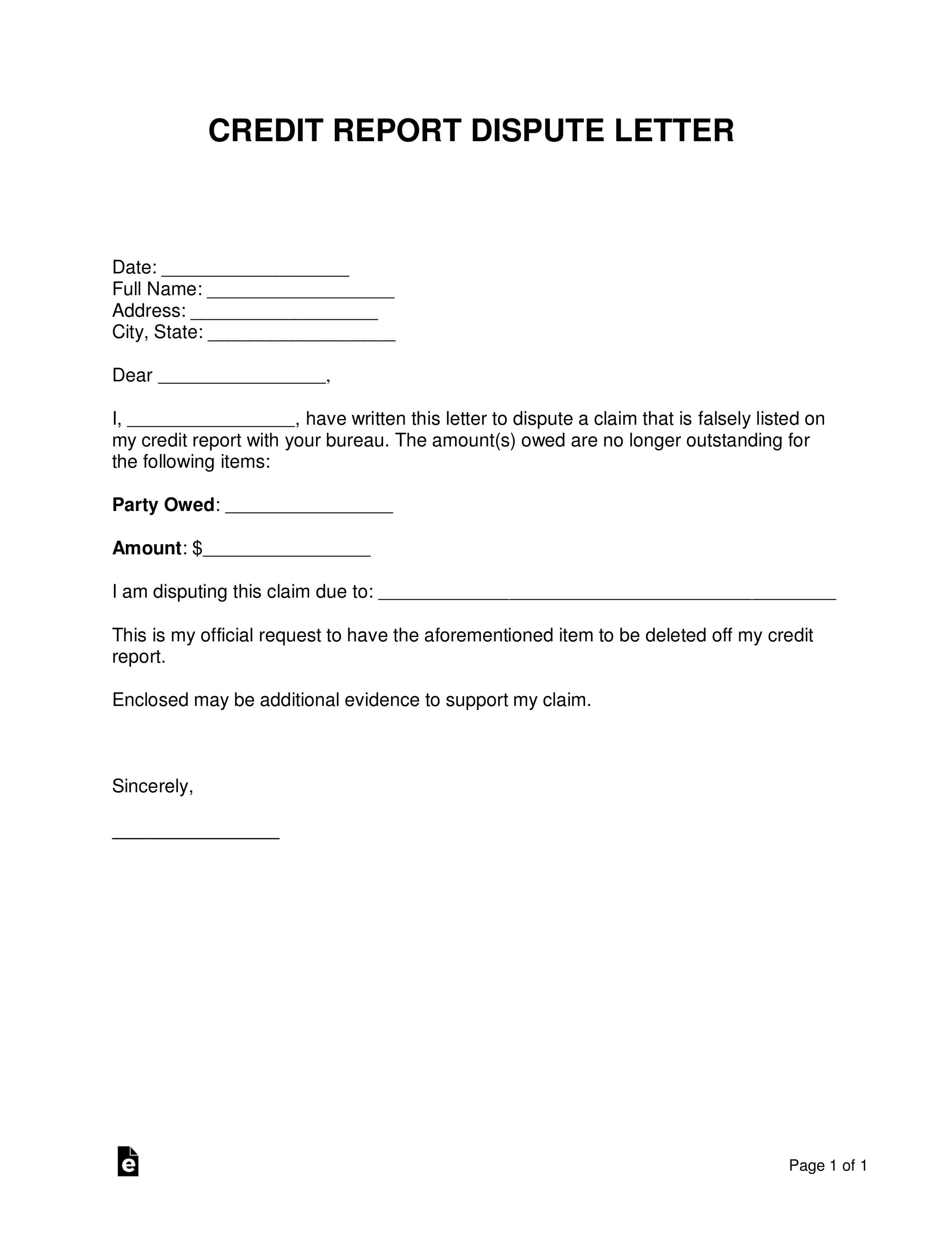 Free Credit Report Dispute Letter Template - Sample - Word In Credit Report Dispute Letter Template