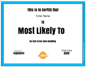 "Free Customizable ""most Likely To Awards"" Throughout in Superlative Certificate Template"