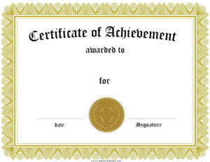Free Customizable Printable Certificates Of Achievement for Free Printable Certificate Of Achievement Template