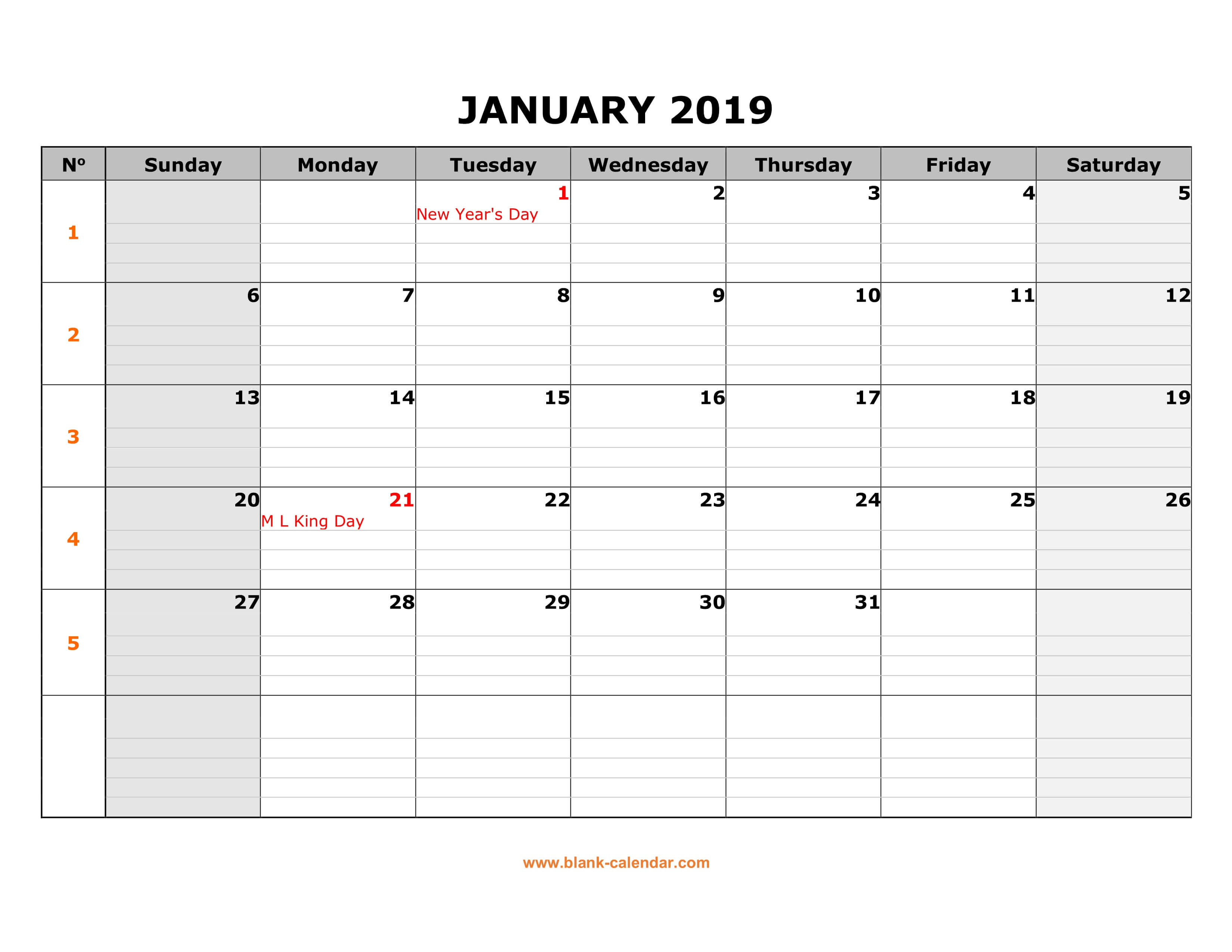 Free Download Printable Calendar 2019, Large Box Grid, Space Inside Blank One Month Calendar Template