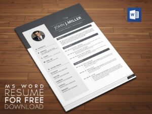 Free Download Resume (Cv) Template For Ms Word Format – Good with regard to Free Downloadable Resume Templates For Word