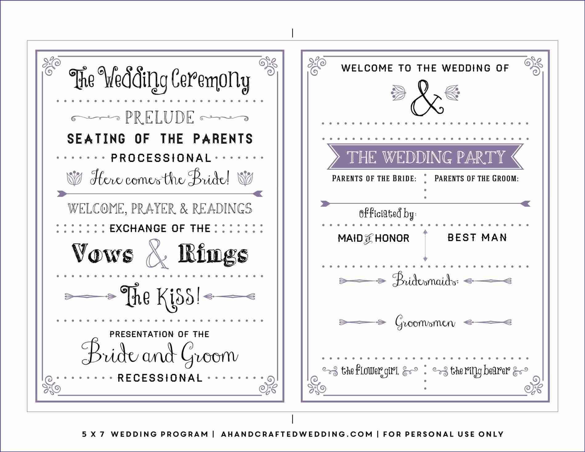 Free Downloadable Wedding Program Template That Can Be For Free Printable Wedding Program Templates Word