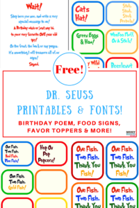 Free Dr. Seuss Printables & Fonts! intended for Dr Seuss Birthday Card Template