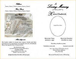 Free Editable Funeral Program Template | Template Business with regard to Memorial Brochure Template