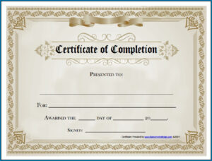 Free Editable Printable Certificate Of Completion #253 throughout Blank Certificate Of Achievement Template