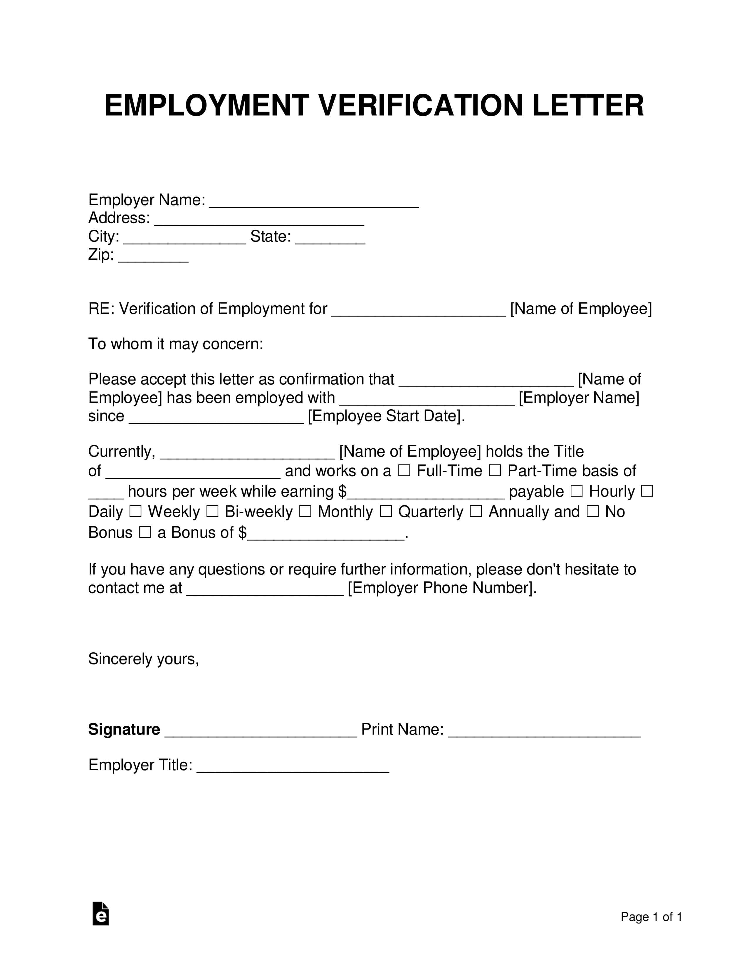 Free Employment (Income) Verification Letter - Pdf | Word Throughout Employment Verification Letter Template Word