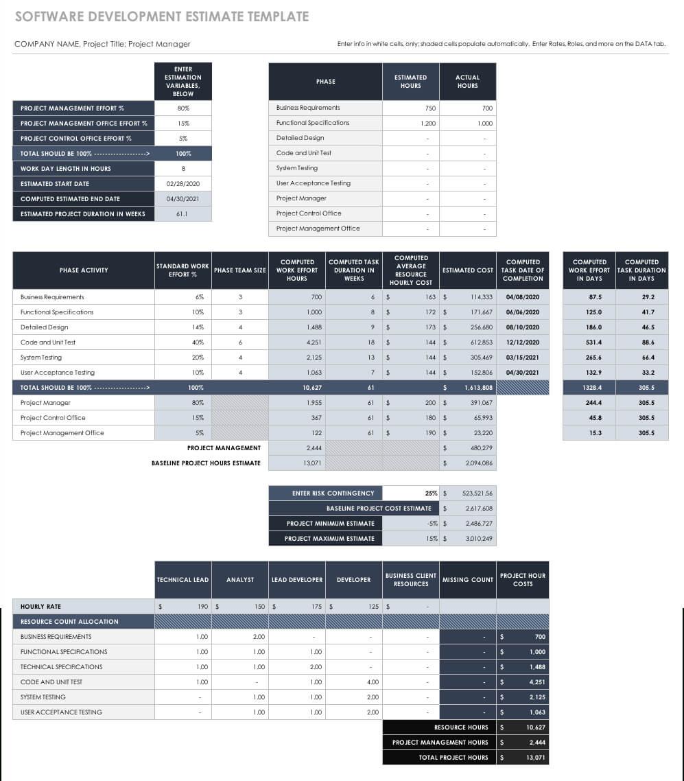 Free Estimate Templates   Smartsheet Within Blank Estimate Form Template