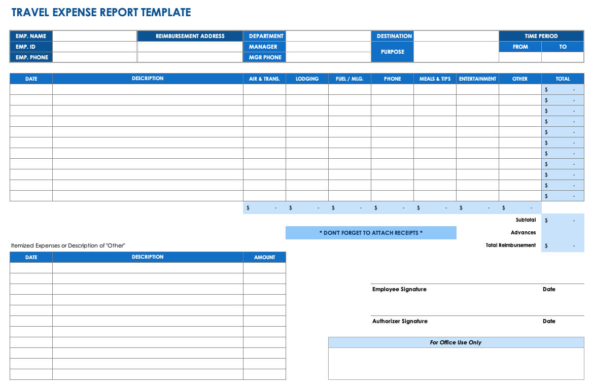 Free Expense Report Templates Smartsheet Within Quarterly Expense Report Template