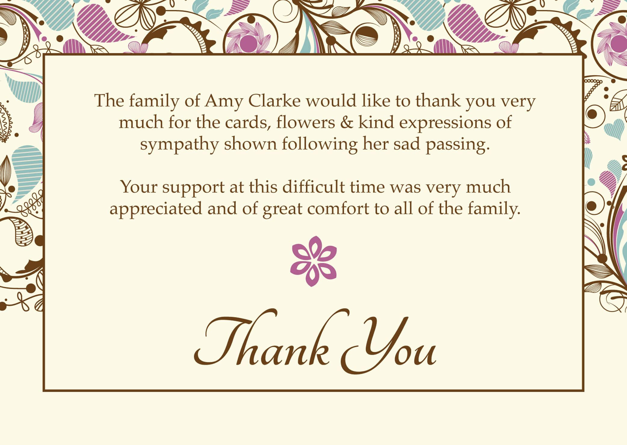 "Free Funeral Thank You Cards Templates Ideas | ""worth Regarding Sympathy Thank You Card Template"