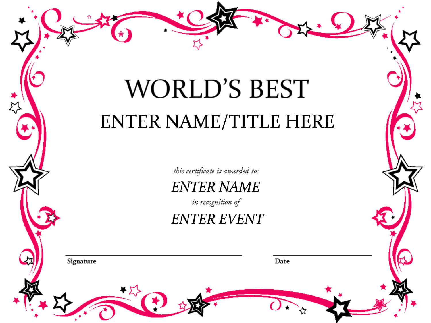 Free Funny Award Certificates Templates | Worlds Best Custom within Free Funny Certificate Templates For Word