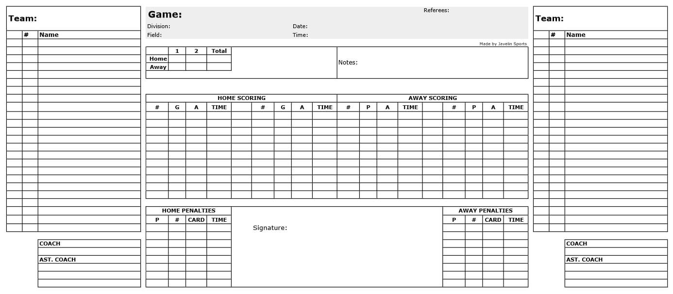 Free Game Sheets For Soccer, Hockey, Basketball, And Baseball In Soccer Referee Game Card Template