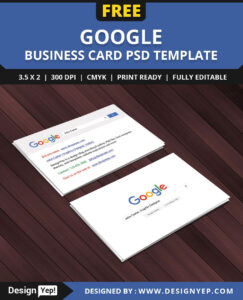 Free Google Interface Business Card Psd Template | Free in Name Card Photoshop Template