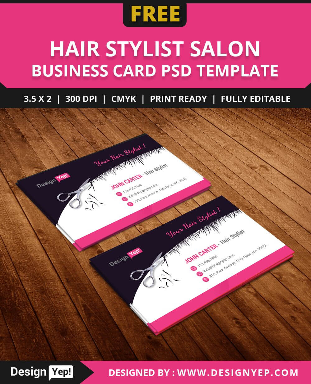 Free Hair Stylist Salon Business Card Template Psd | Free With Hairdresser Business Card Templates Free