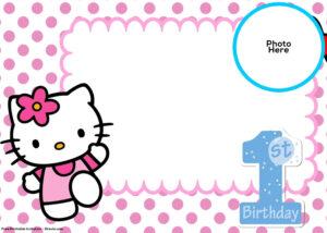 Free Hello Kitty 1St Birthday Invitation | Birthday for Hello Kitty Birthday Card Template Free