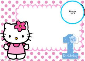Free Hello Kitty 1St Birthday Invitation Template | Hello regarding Hello Kitty Birthday Card Template Free
