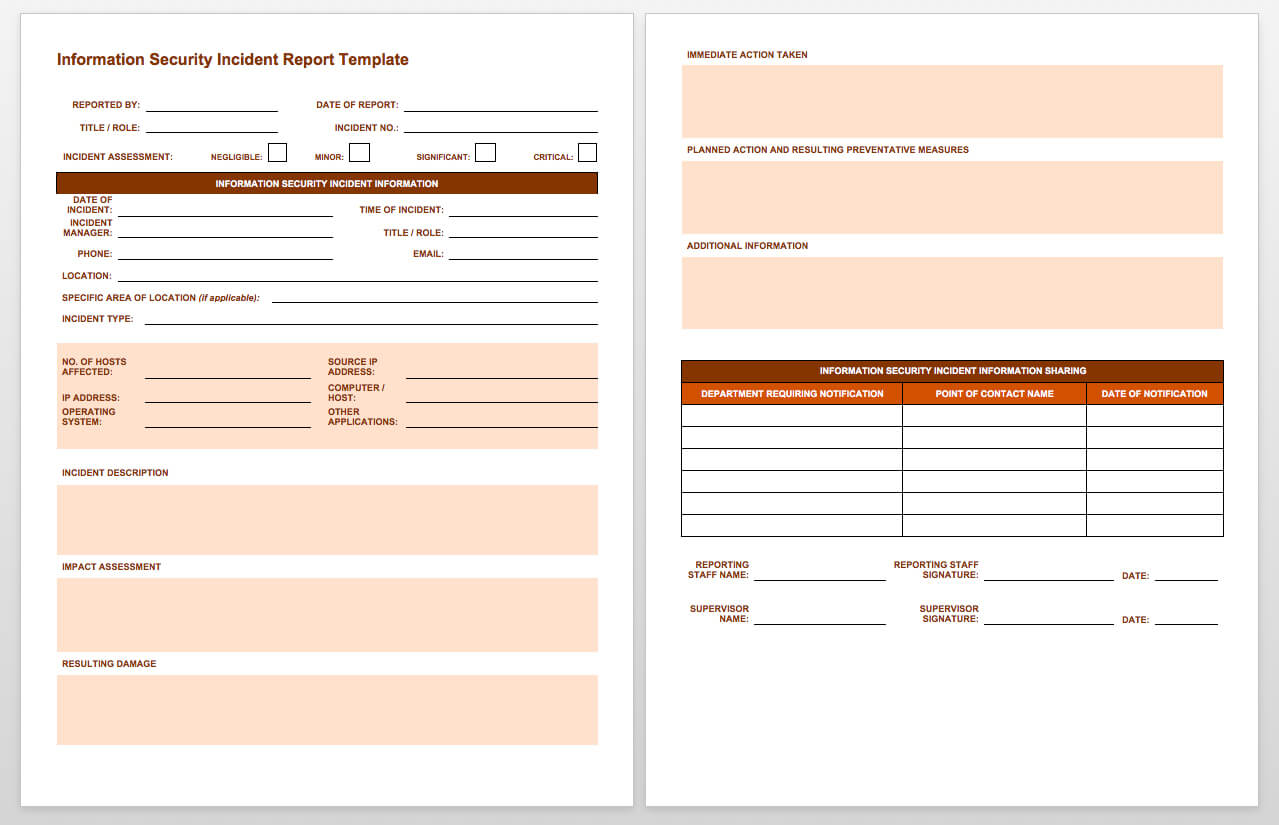 Free Incident Report Templates & Forms | Smartsheet Inside Incident Report Book Template